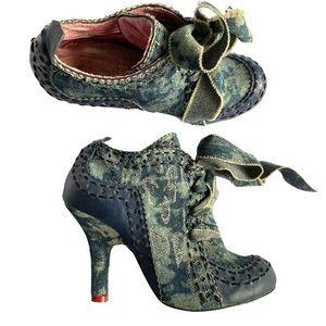 Denim and leather heels by Shangri La  8 1/2